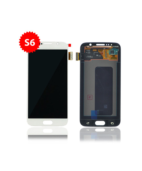 Lcd Replacement for Samsung Galaxy S6 Without Frame in White Pearl