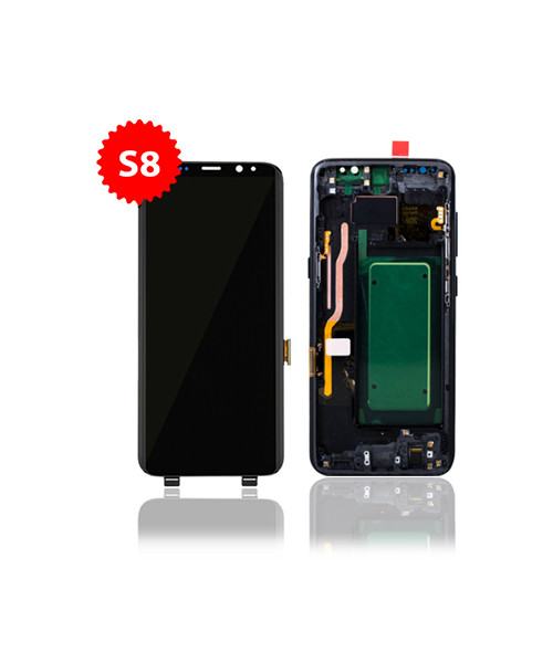 Lcd Replacement for Samsung Galaxy S8 With Frame in Midnight Black