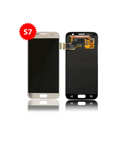 LCD Replacement for Samsung Galaxy S7 Without Frame in Gold.