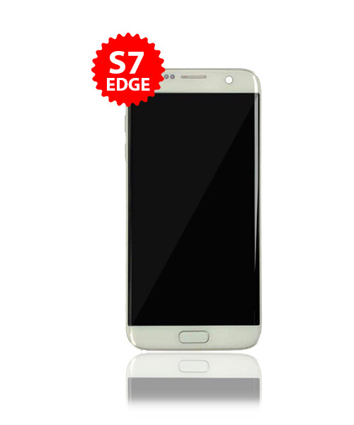 Renewed LCD With Frame for Samsung Galaxy S7 Edge  in Silver B/C Grade