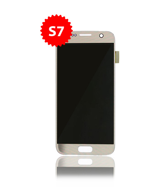 Renewed LCD With Frame for Samsung Galaxy S7  in Gold B/C Grade